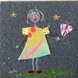 carte souhaits fille étoile et papillon