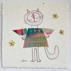 carte souhaits le chat rose